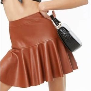 Better Be Brown Faux Leather Mini Skirt Large